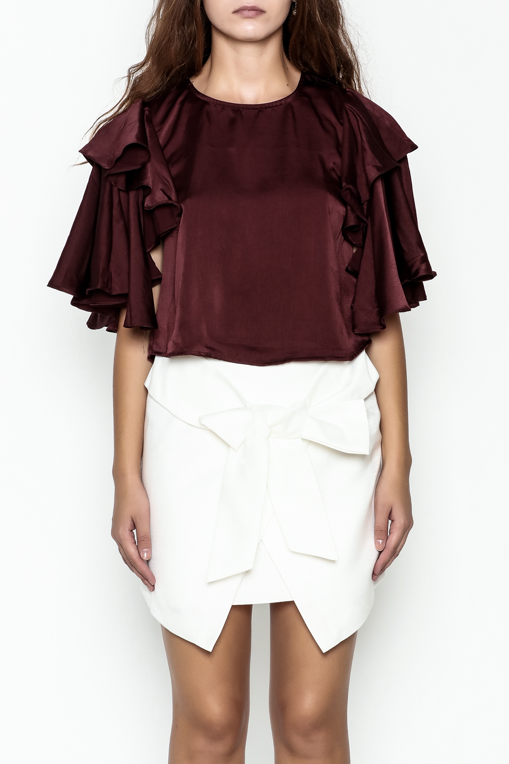 Do-Be Ruffle Sleeve Top - Front Full Image