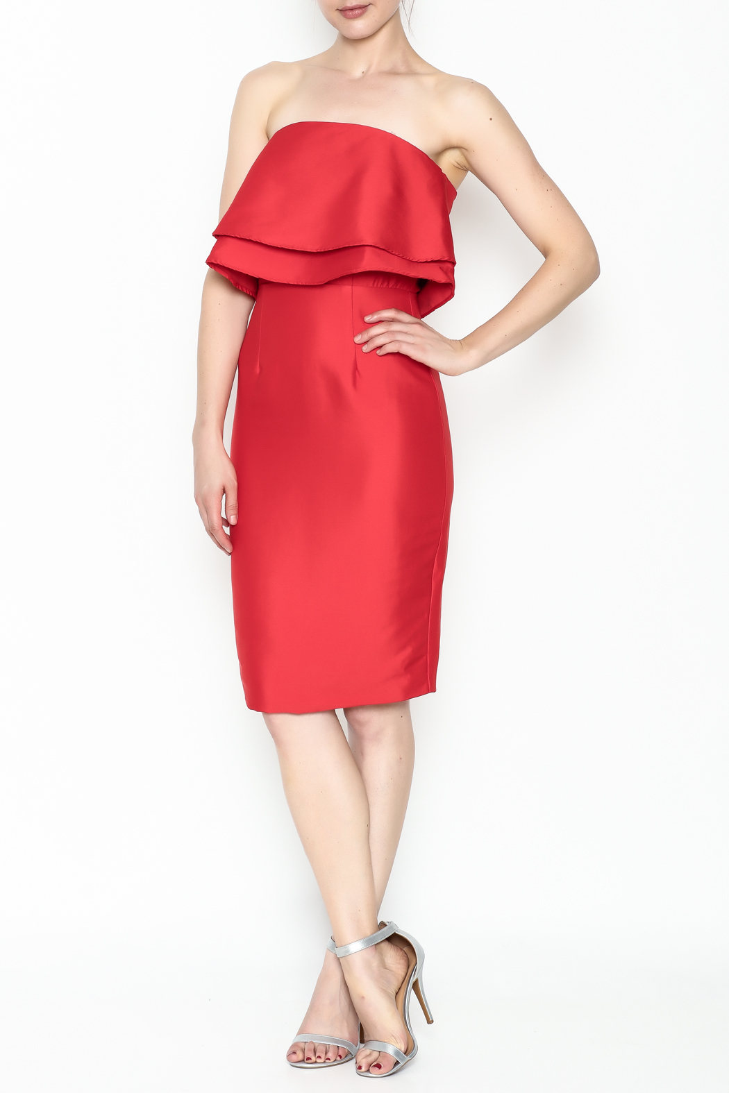 Do-Be Ruffle Strapless Dress - Side Cropped Image