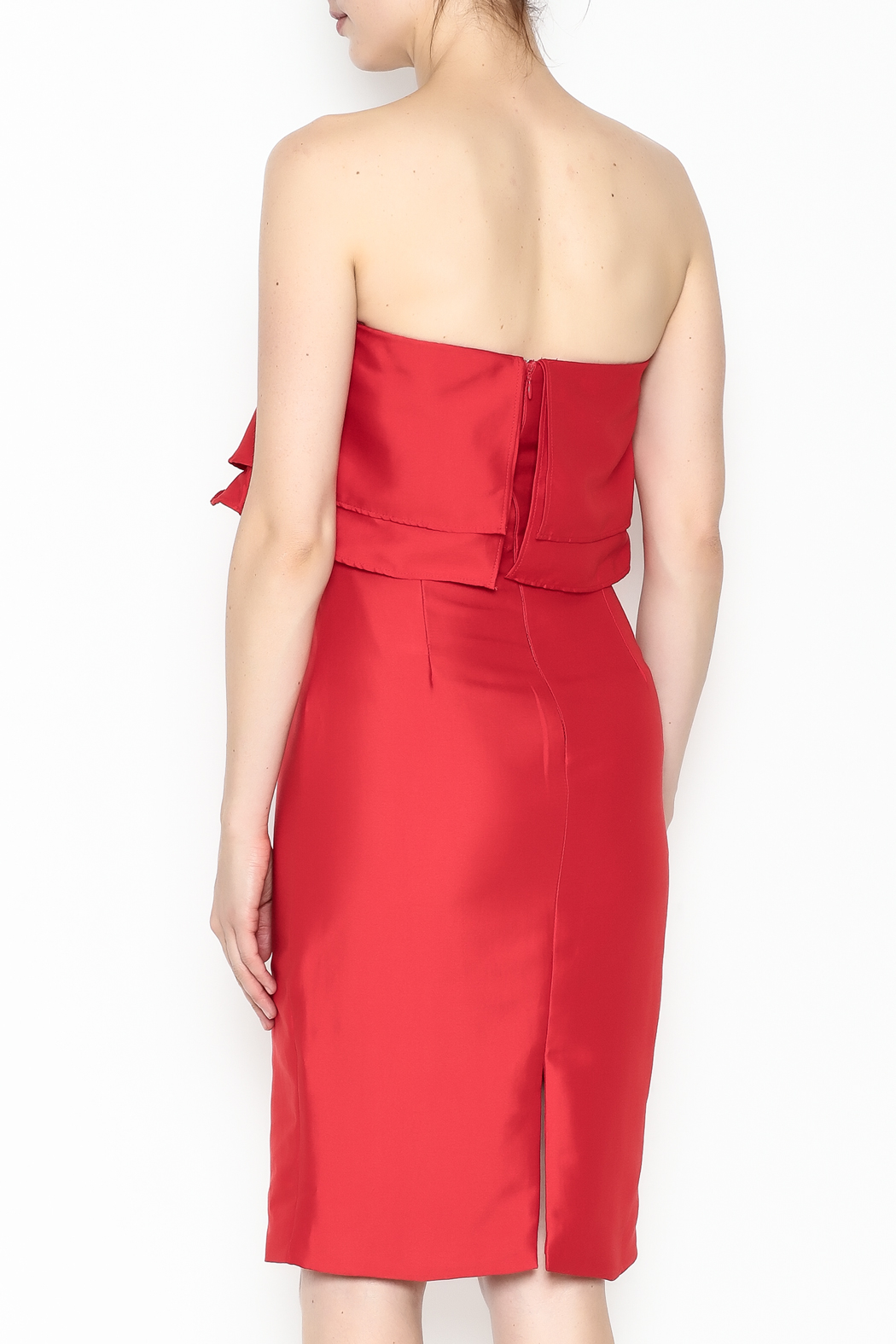 Do-Be Ruffle Strapless Dress - Back Cropped Image