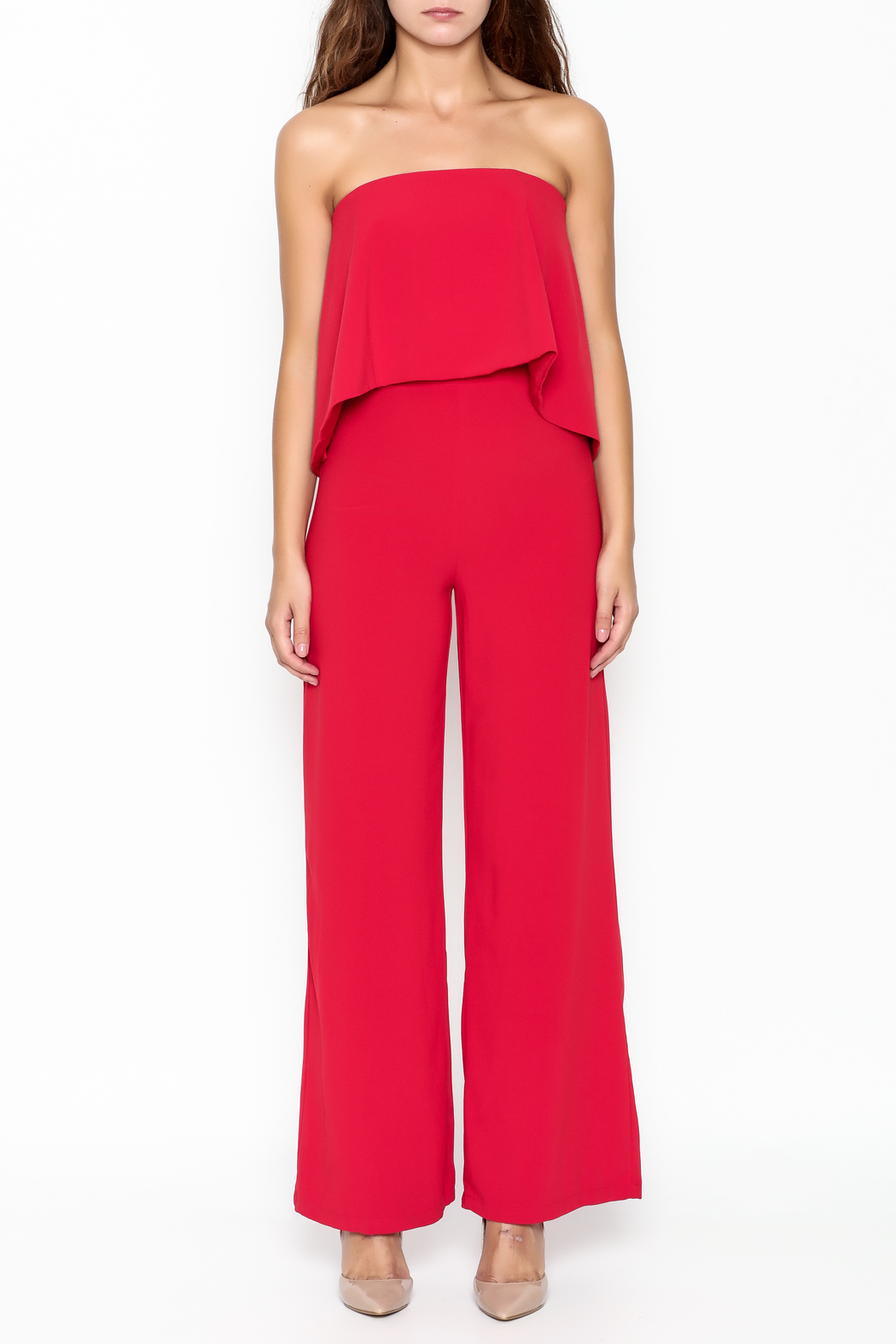 Do-Be Ruffle Strapless Jumpsuit - Front Full Image