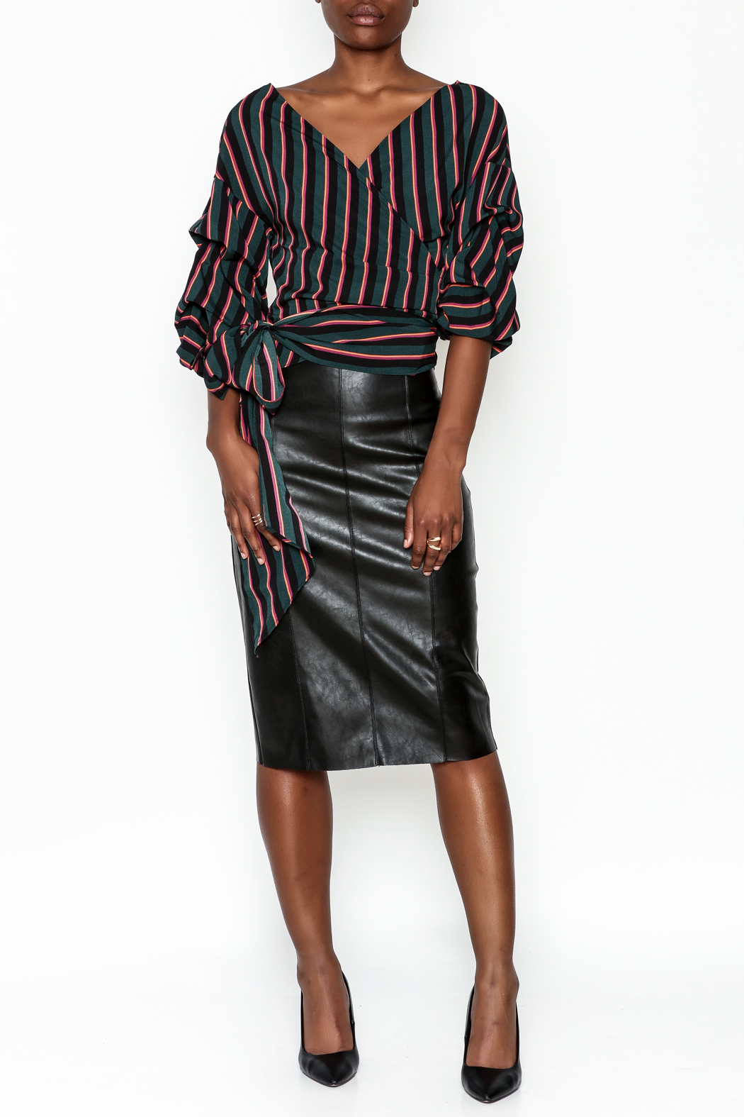 Do-Be Stripe Wrap Top - Side Cropped Image