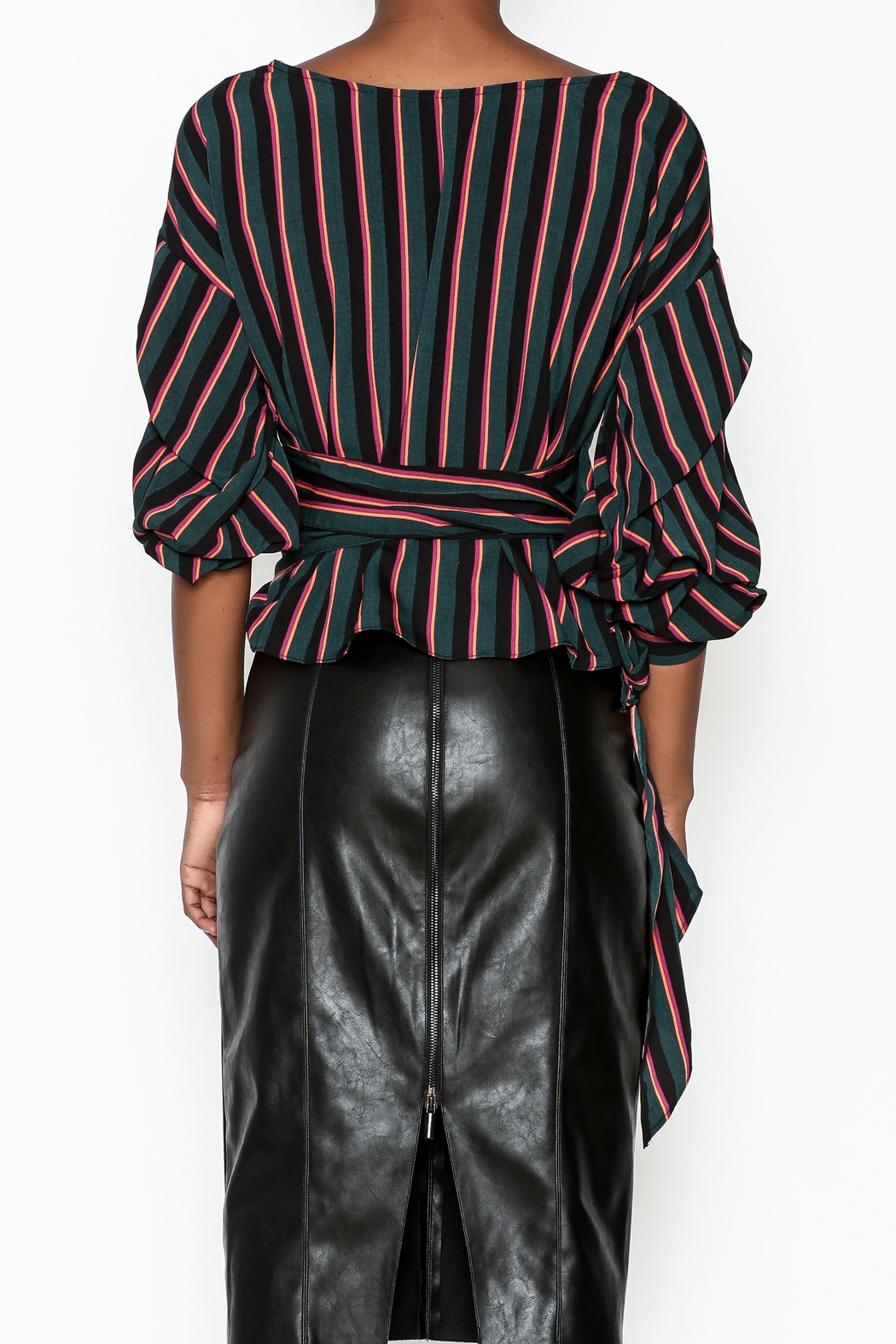 Do-Be Stripe Wrap Top - Back Cropped Image