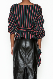 Do-Be Stripe Wrap Top - Back cropped