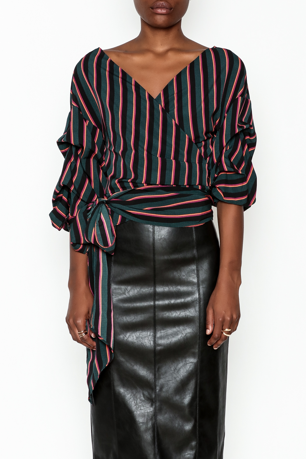 Do-Be Stripe Wrap Top - Front Full Image