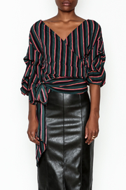 Do-Be Stripe Wrap Top - Front full body