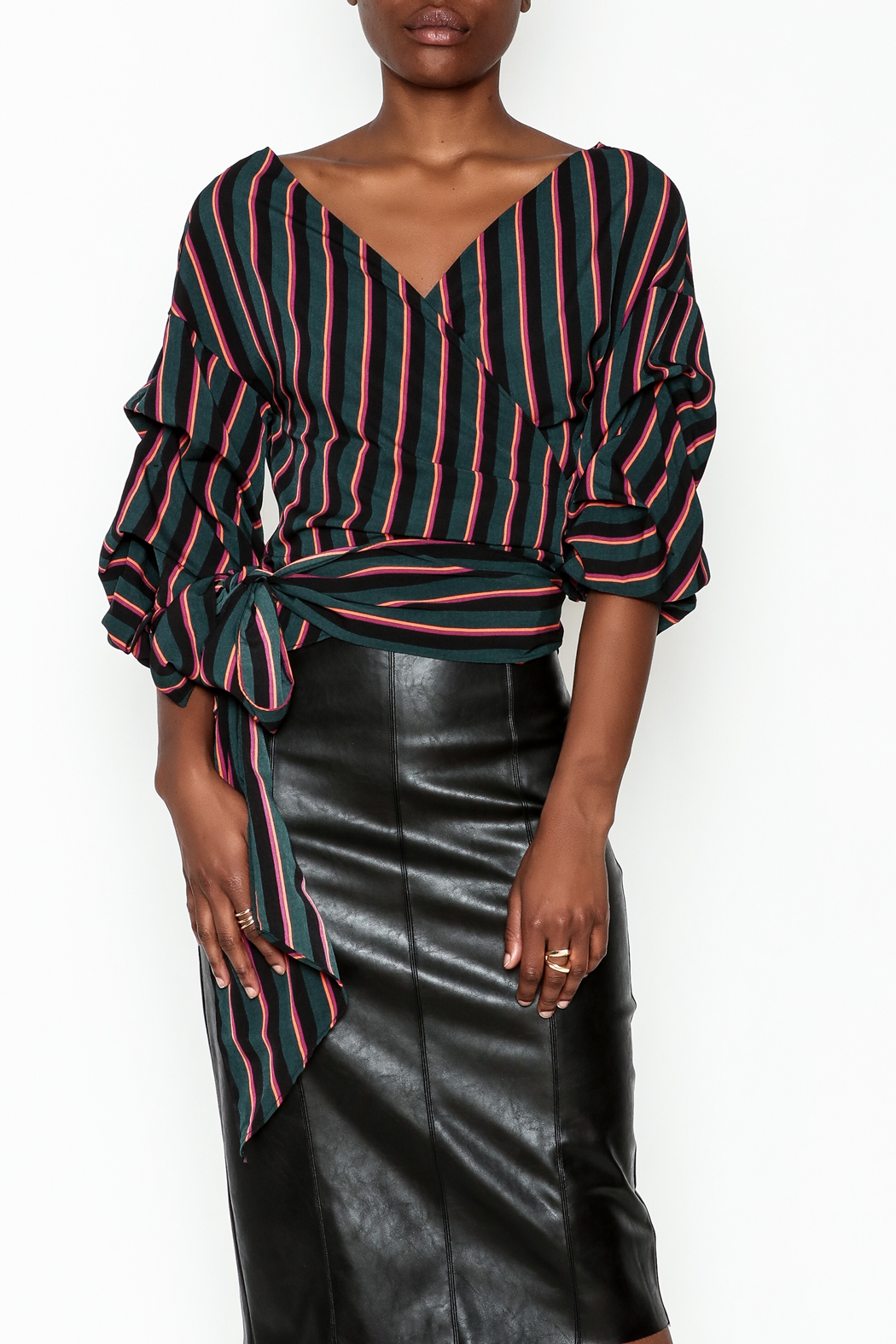 Do-Be Stripe Wrap Top - Main Image