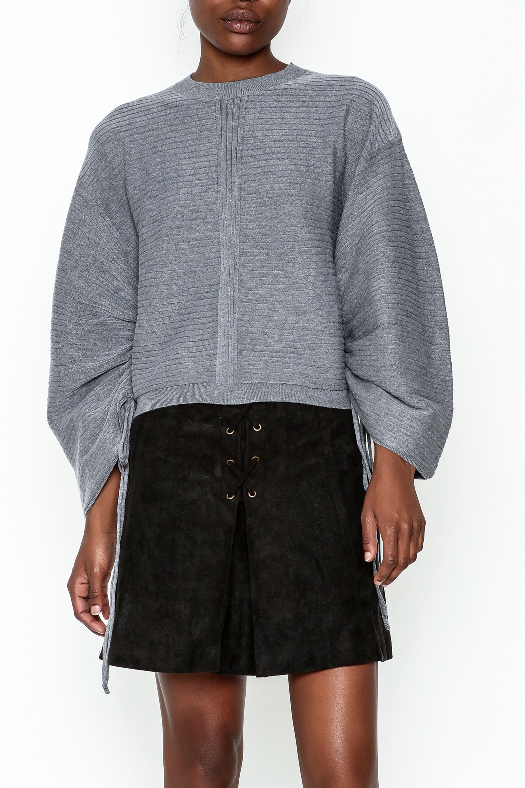 Do-Be Tie Cuff Sweashirt - Front Cropped Image