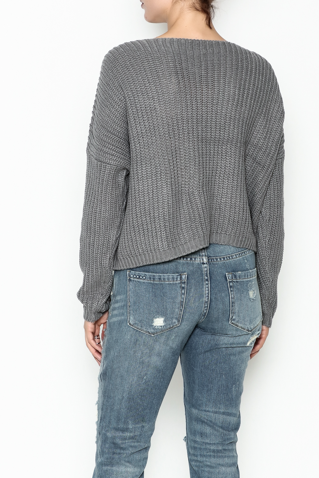Do-Be Tie Pocket Sweater - Back Cropped Image