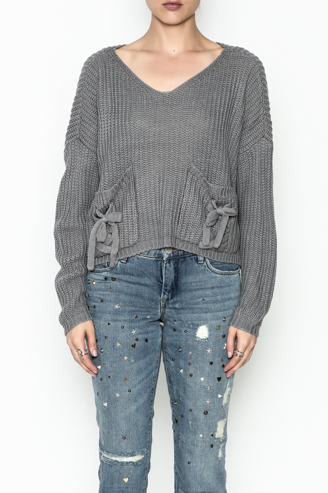 Do-Be Tie Pocket Sweater - Front Cropped Image