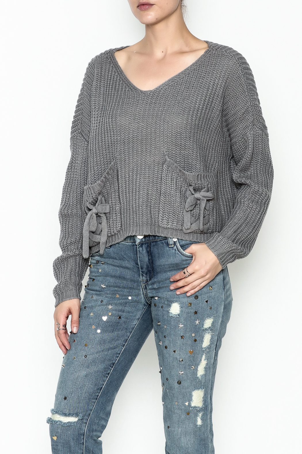 Do-Be Tie Pocket Sweater - Main Image