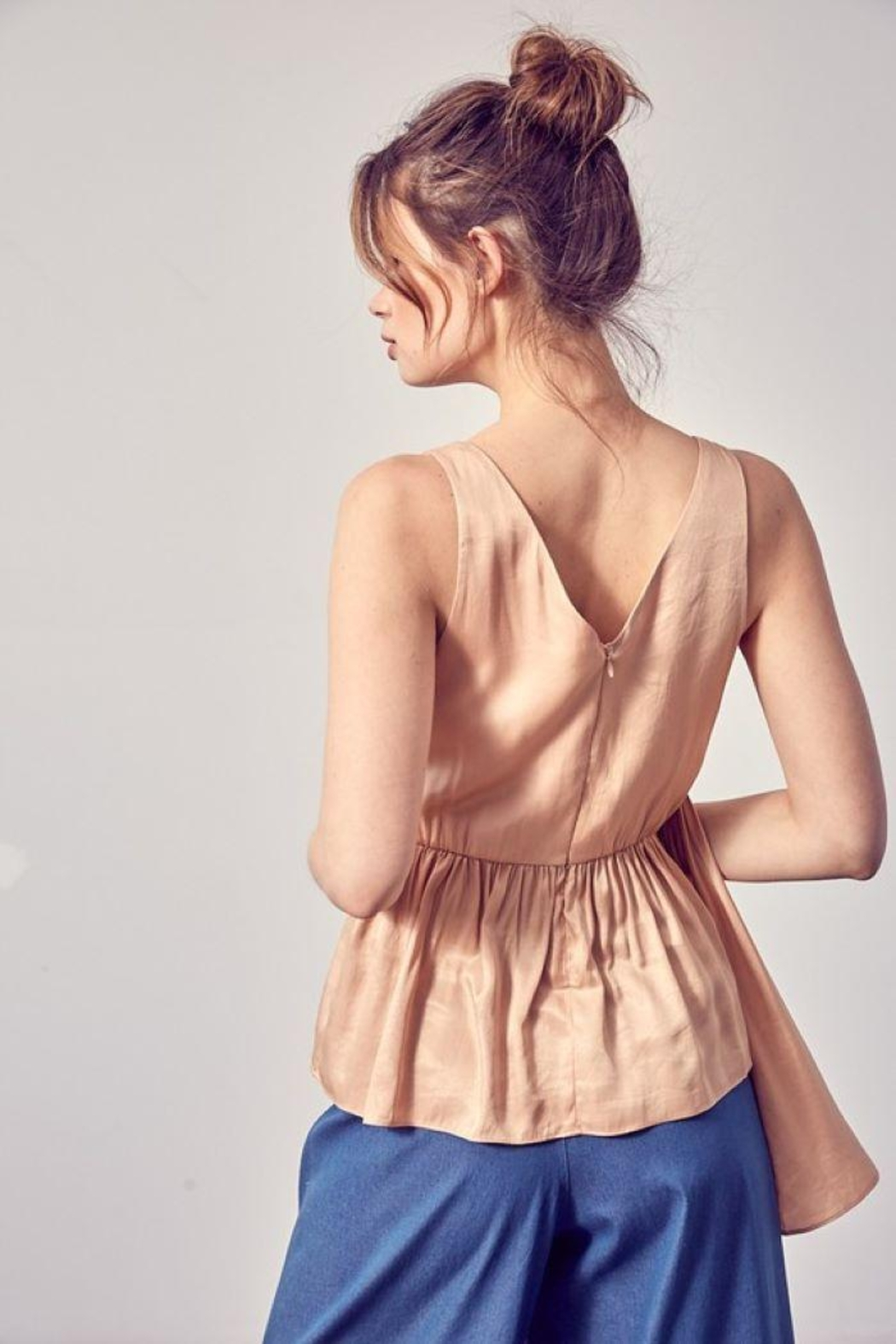 Do+Be Collection  Asymmetric Draped Top - Back Cropped Image