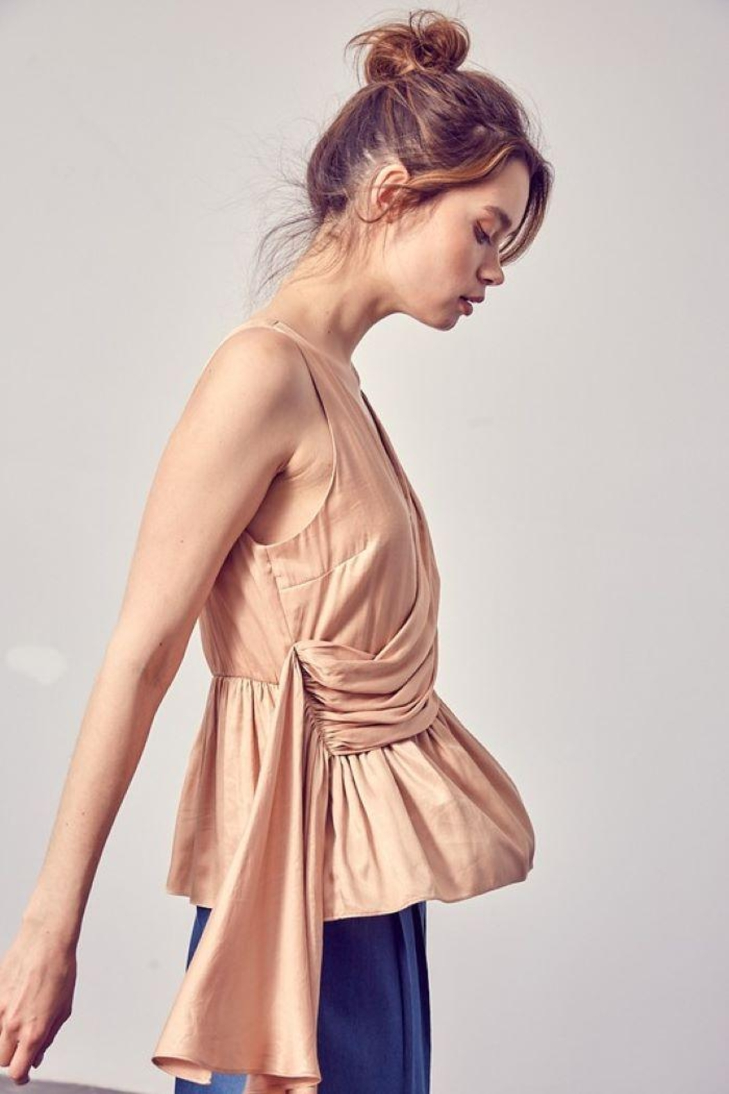Do+Be Collection  Asymmetric Draped Top - Front Full Image