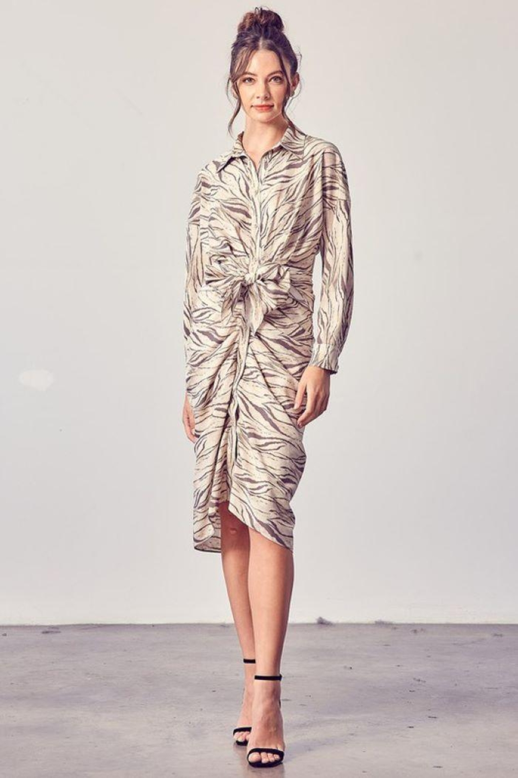 Do+Be Collection  Button Up Front Tie Detail Dress - Main Image