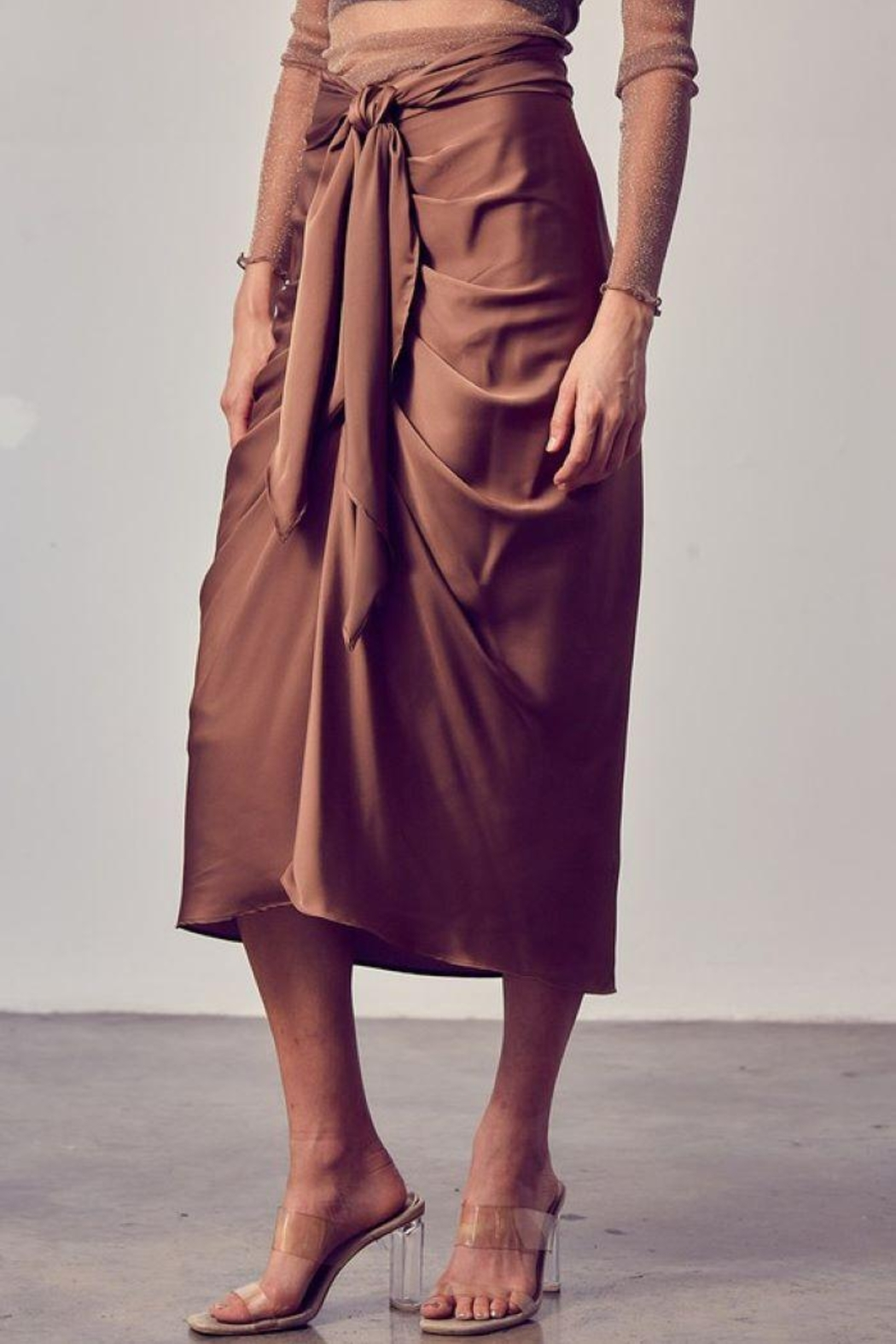 Do+Be Collection  Front Tie Button Down Woven Skirt - Side Cropped Image
