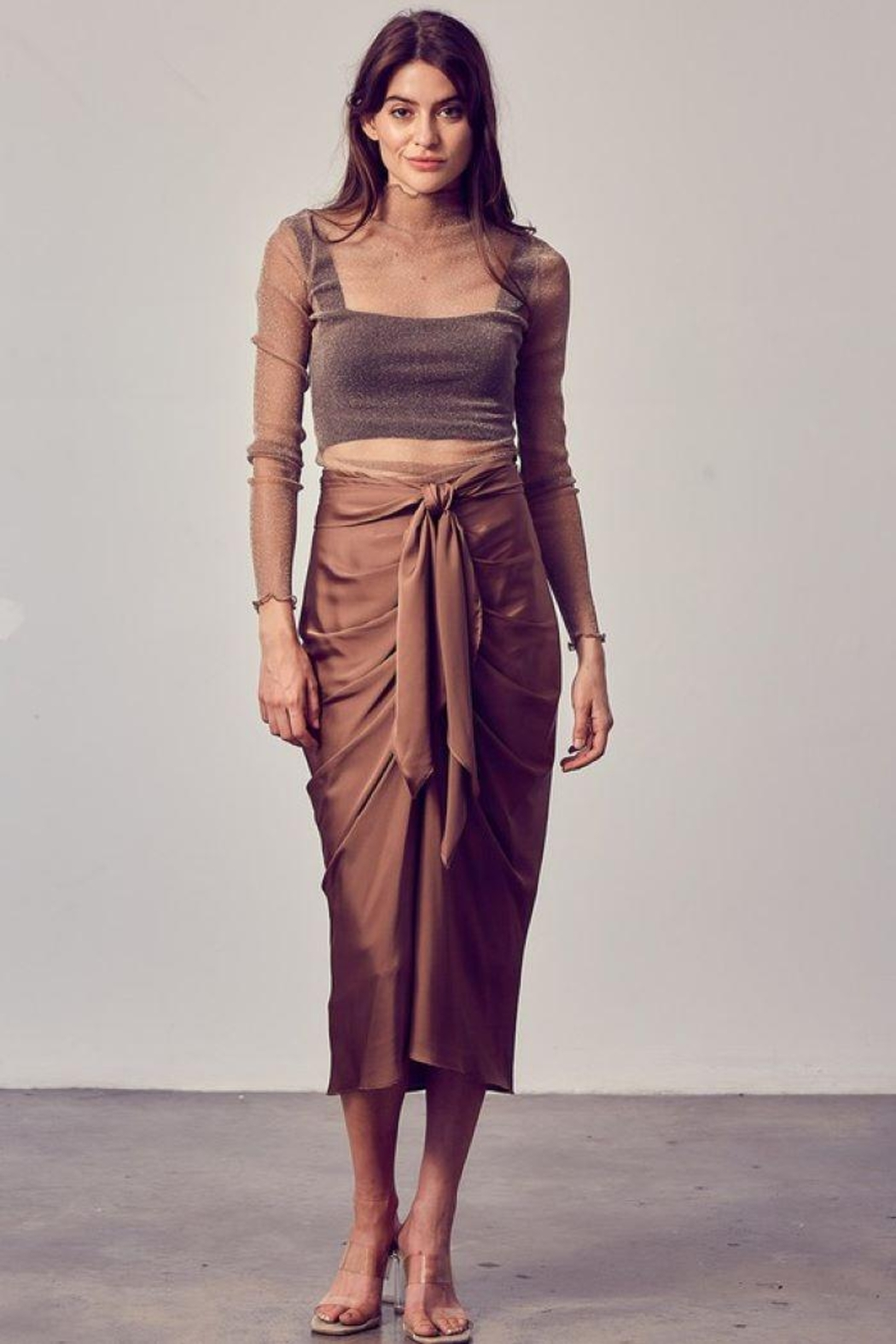 Do+Be Collection  Front Tie Button Down Woven Skirt - Front Cropped Image