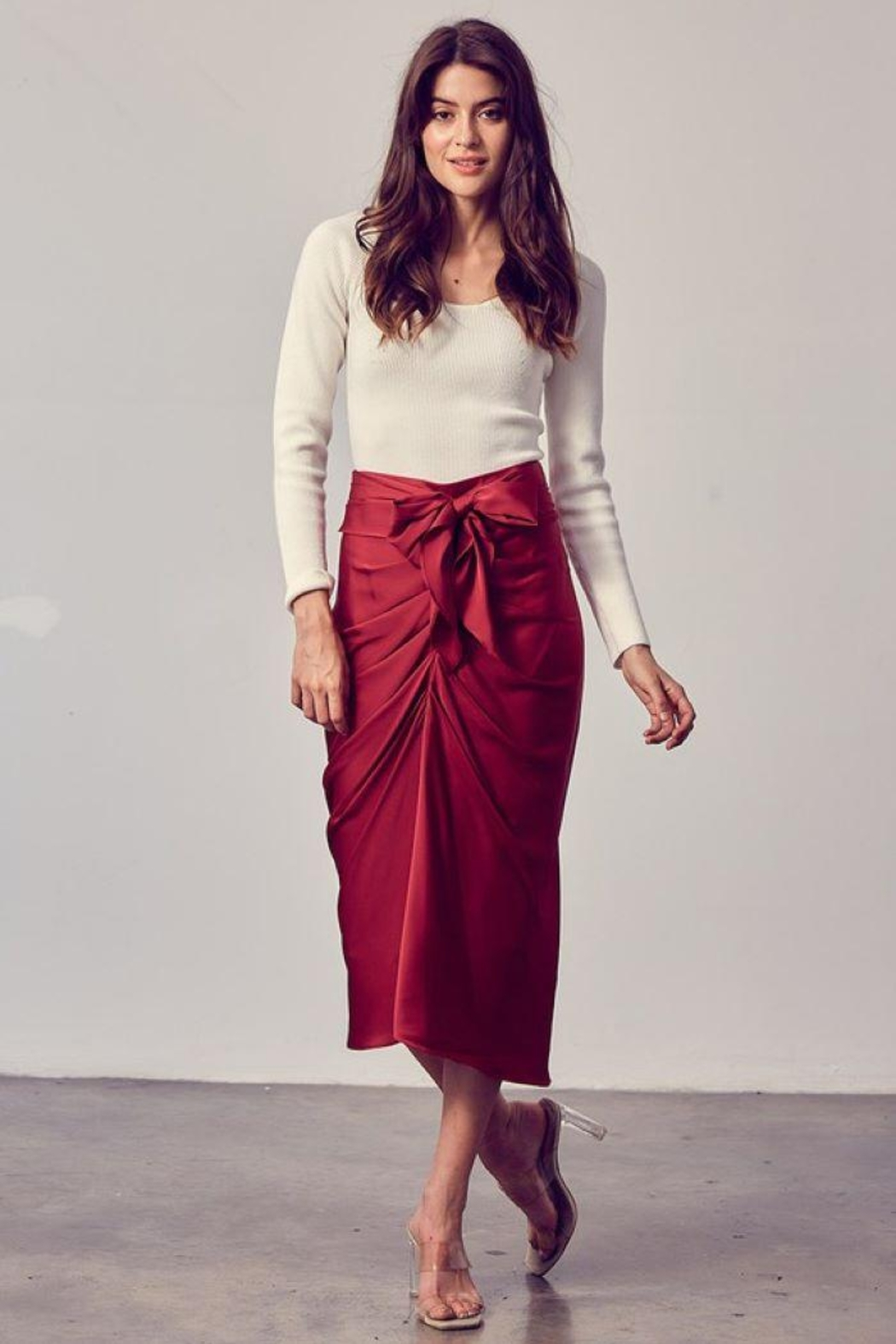 Do+Be Collection  Front Tie Button Down Woven Skirt - Main Image