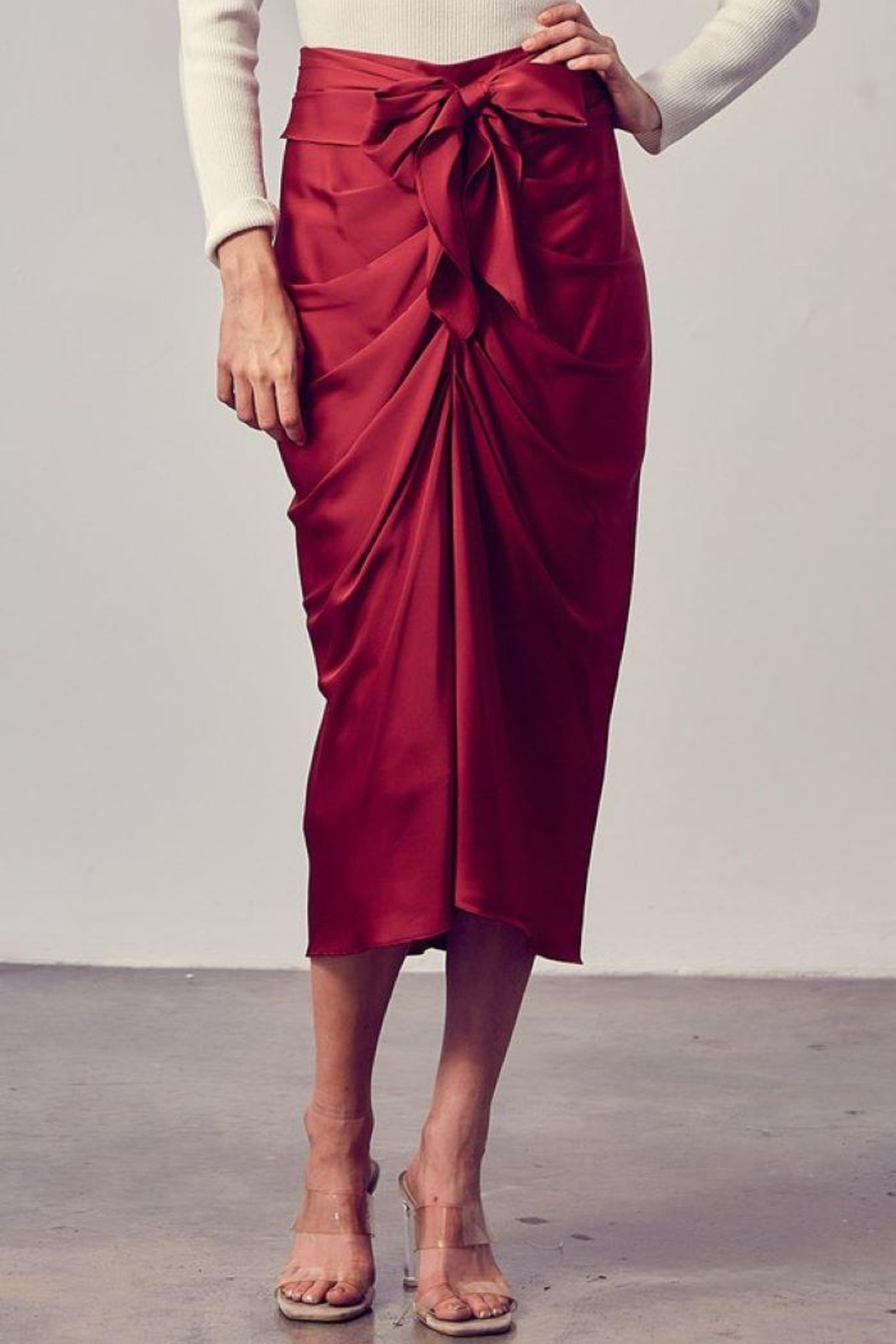 Do+Be Collection  Front Tie Button Down Woven Skirt - Front Full Image