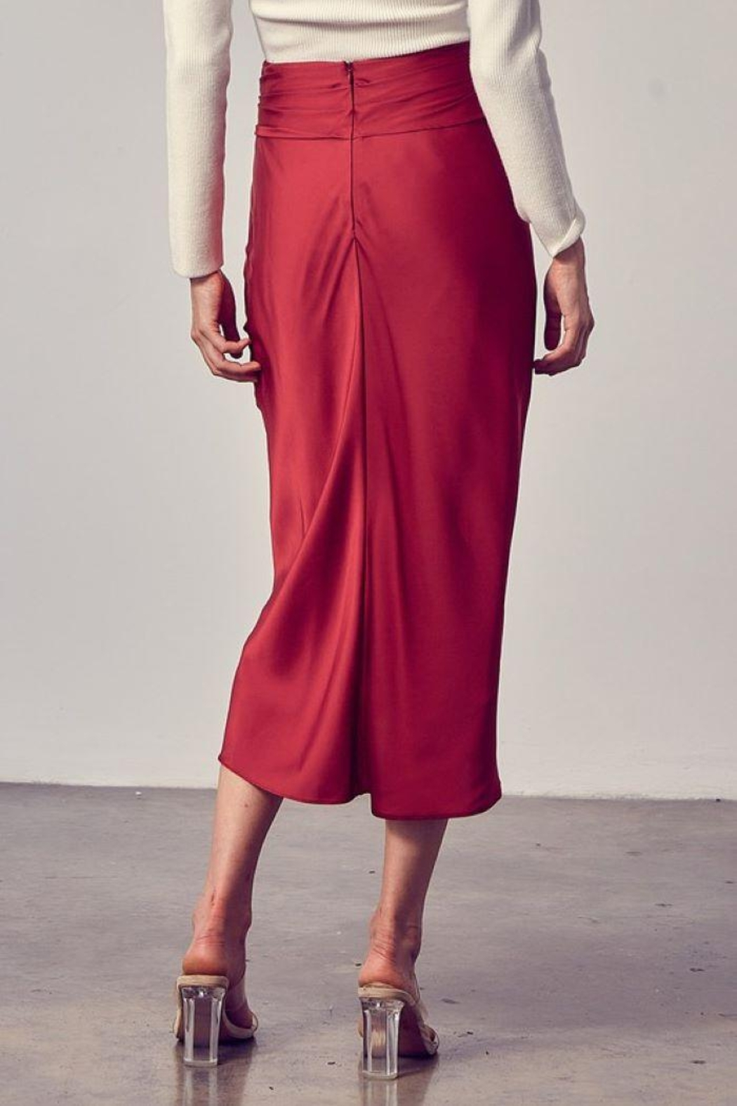 Do+Be Collection  Front Tie Button Down Woven Skirt - Back Cropped Image