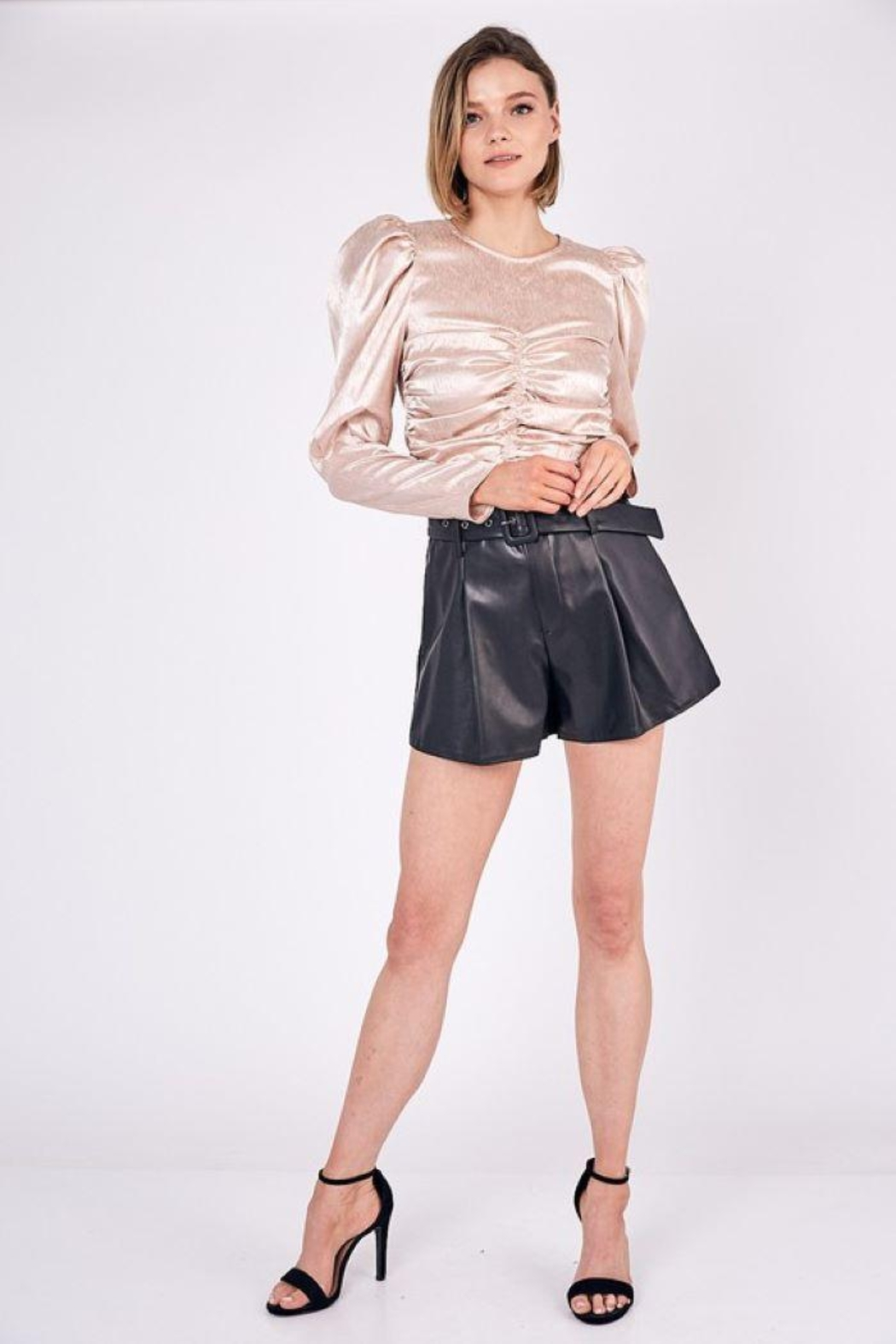 Do+Be Collection  Mid Rise Belted Faux Leather Shorts - Main Image