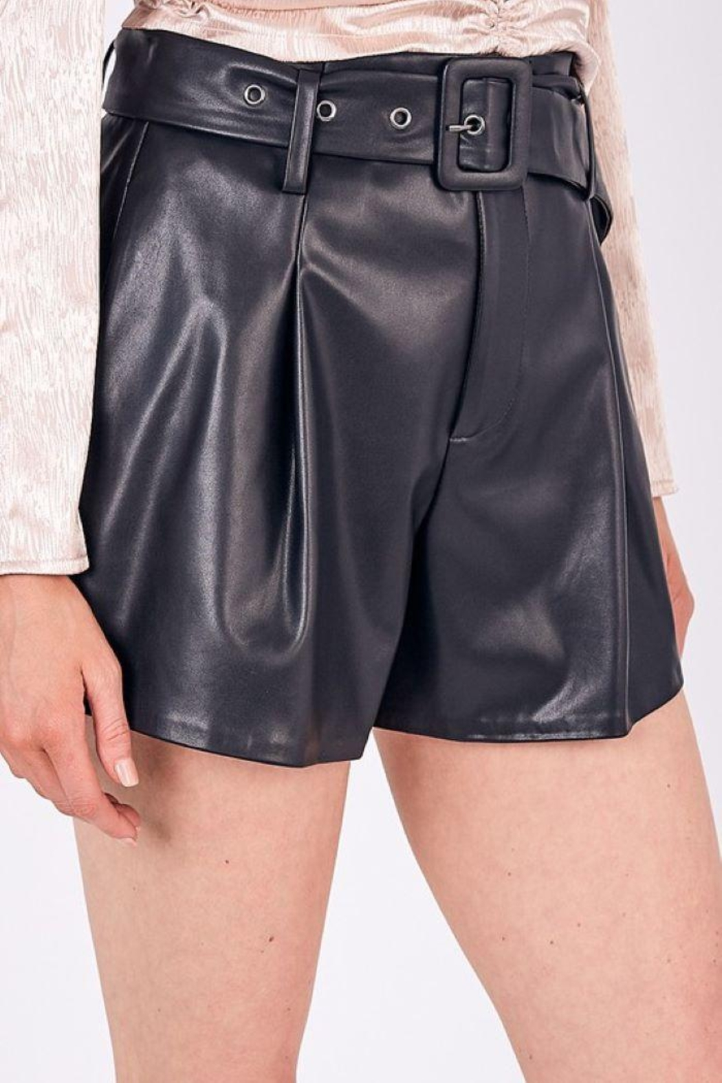 Do+Be Collection  Mid Rise Belted Faux Leather Shorts - Front Full Image
