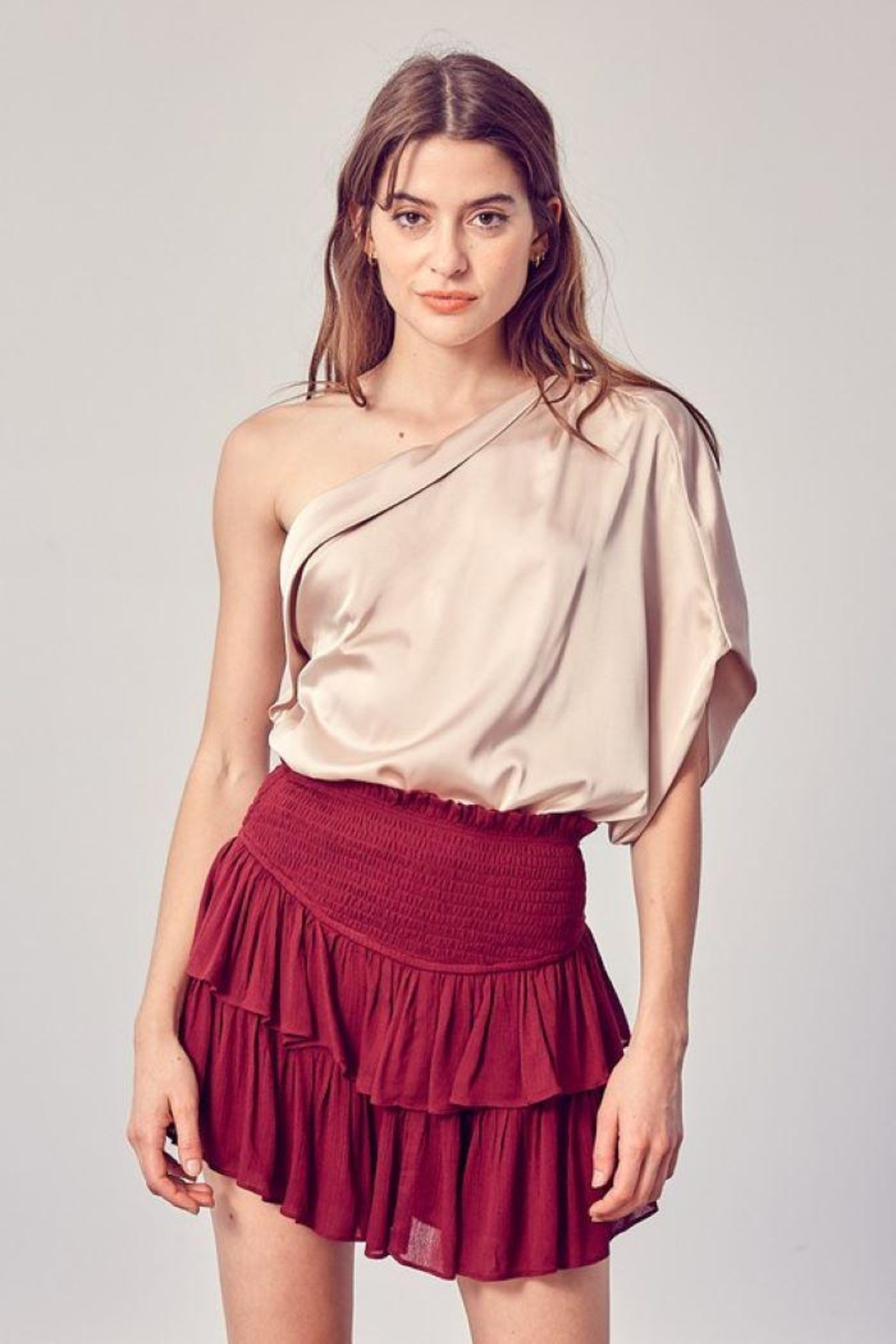 Do+Be Collection  One Shoulder Drape Top - Front Cropped Image