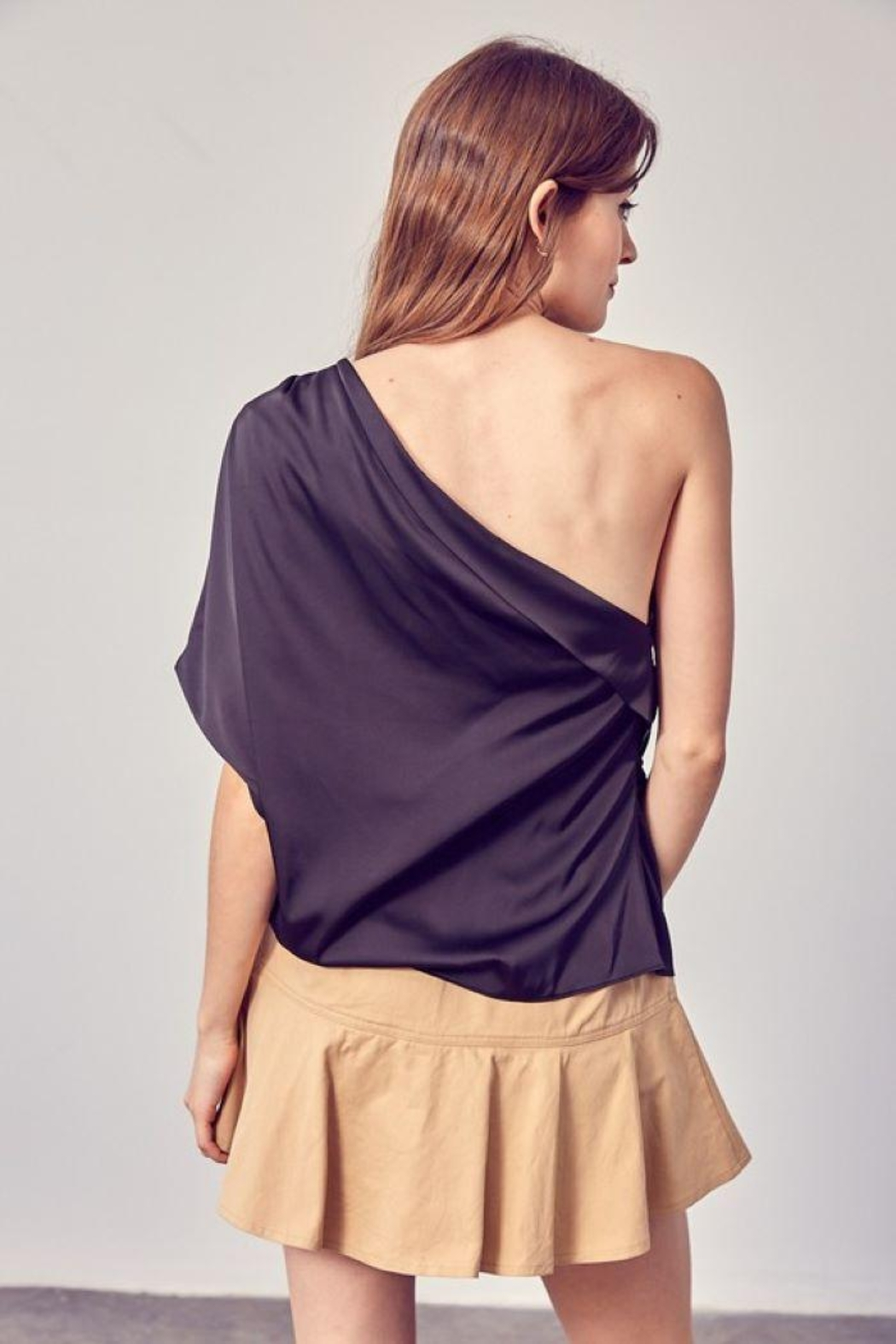Do+Be Collection  One Shoulder Drape Top - Back Cropped Image