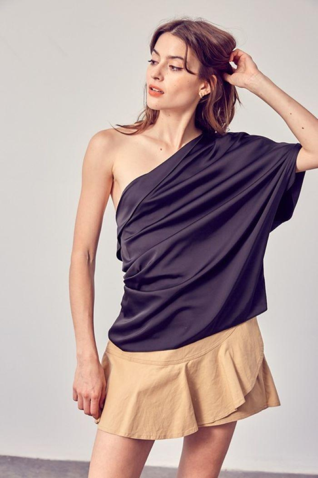 Do+Be Collection  One Shoulder Drape Top - Front Full Image