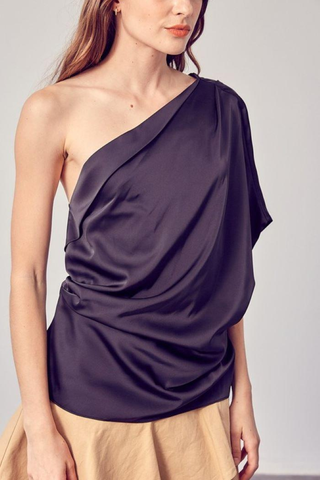 Do+Be Collection  One Shoulder Drape Top - Side Cropped Image