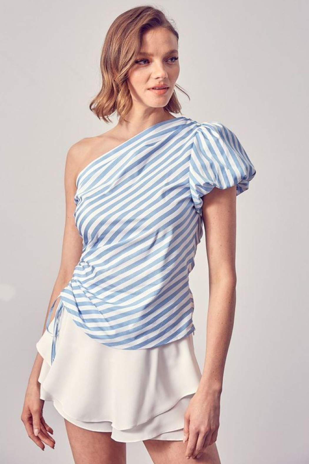 Do+Be Collection  One Shoulder Side Ruched Top - Main Image