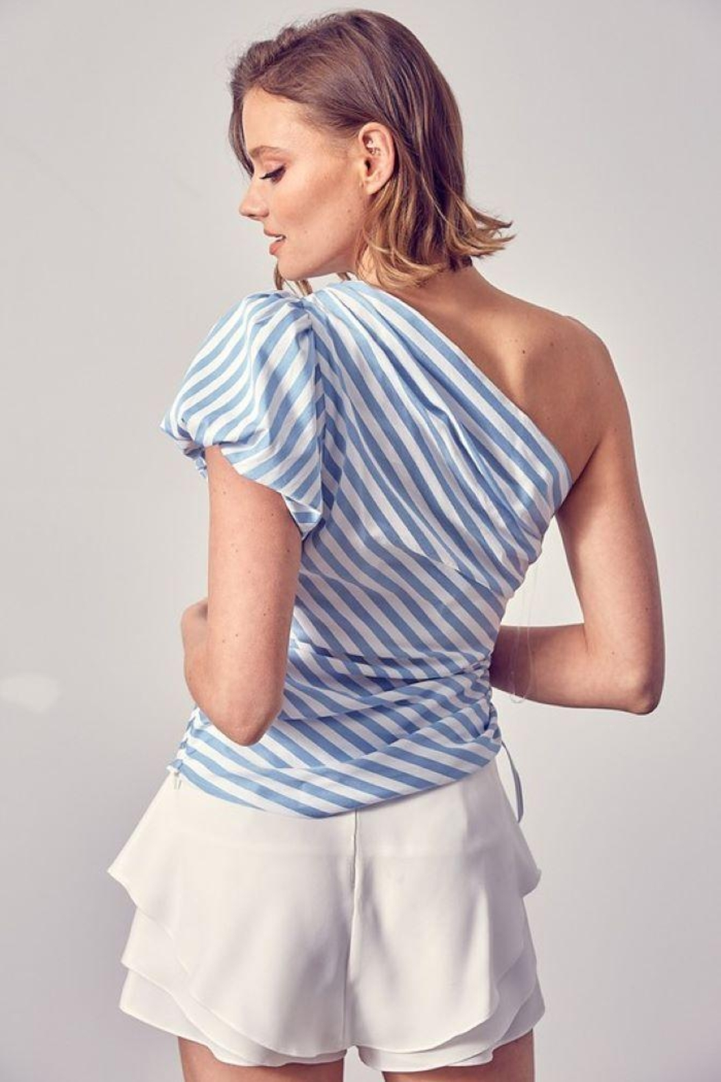 Do+Be Collection  One Shoulder Side Ruched Top - Side Cropped Image