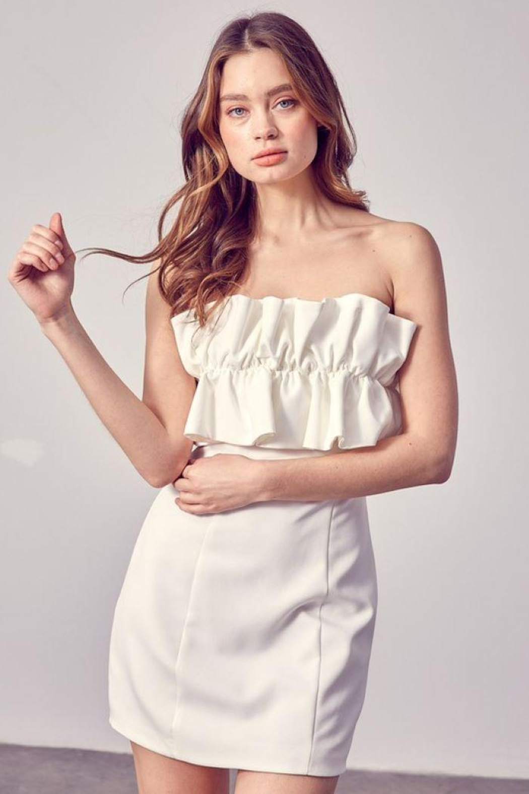 Do+Be Collection  Open Shoulder Ruffle Dress - Side Cropped Image