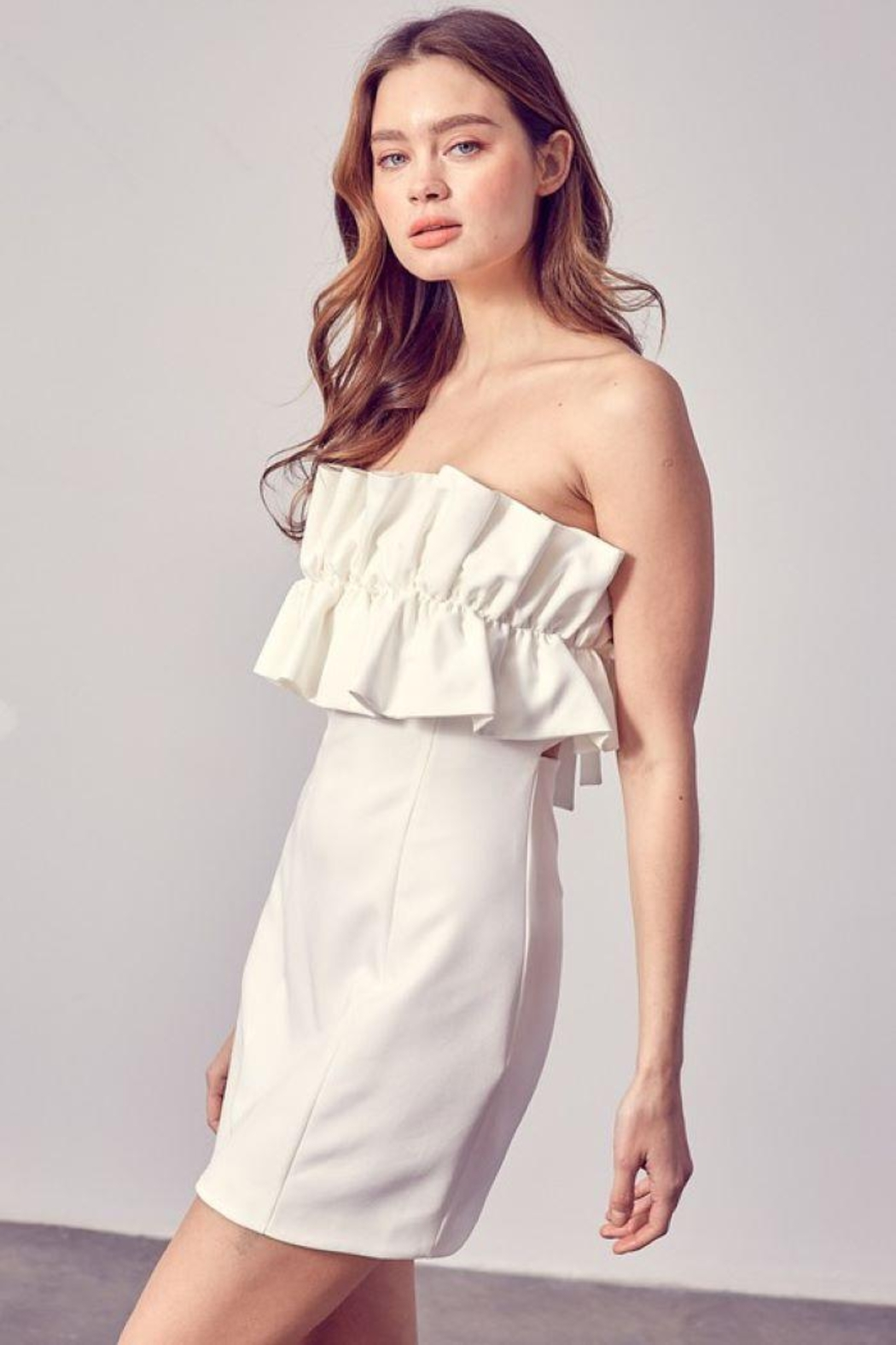 Do+Be Collection  Open Shoulder Ruffle Dress - Back Cropped Image