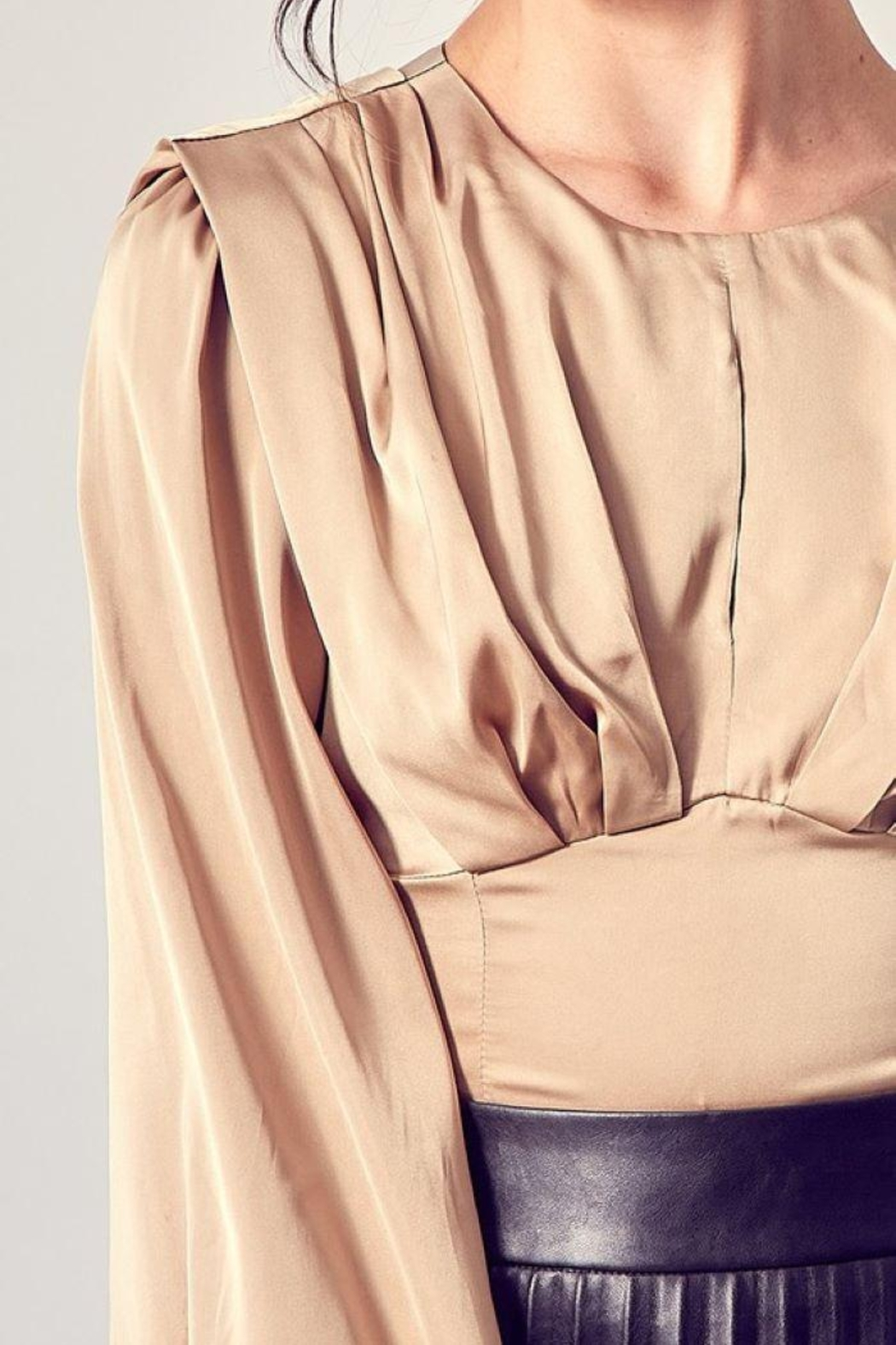 Do+Be Collection  Pleat Detail Smocked Back Top - Front Full Image