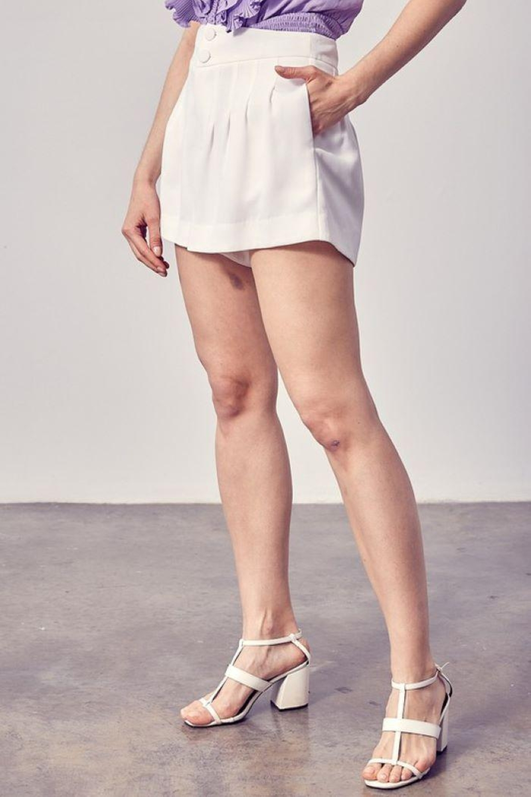 Do+Be Collection  Pleated Detail Shorts - Back Cropped Image