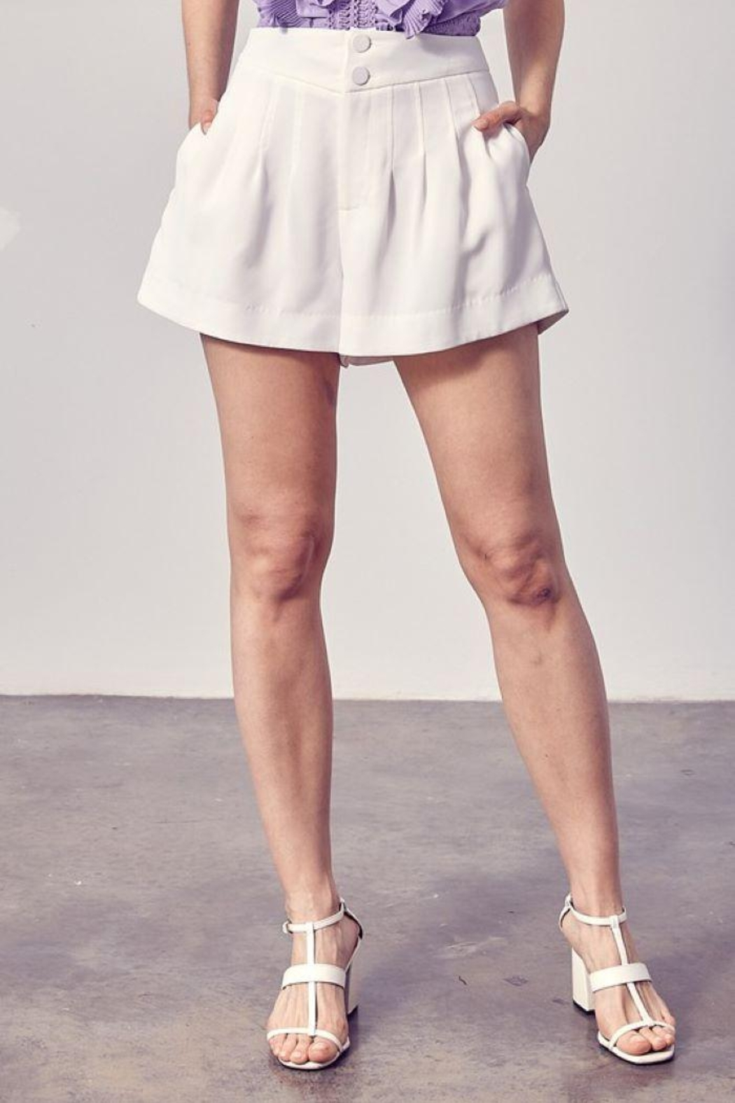 Do+Be Collection  Pleated Detail Shorts - Side Cropped Image