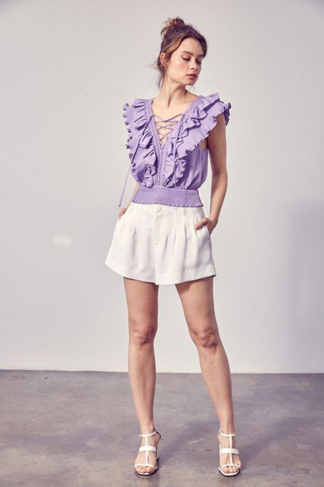 Do+Be Collection  Pleated Detail Shorts - Main Image