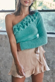 Do+Be Collection  Turquoise Ruffle Sweater - Product Mini Image