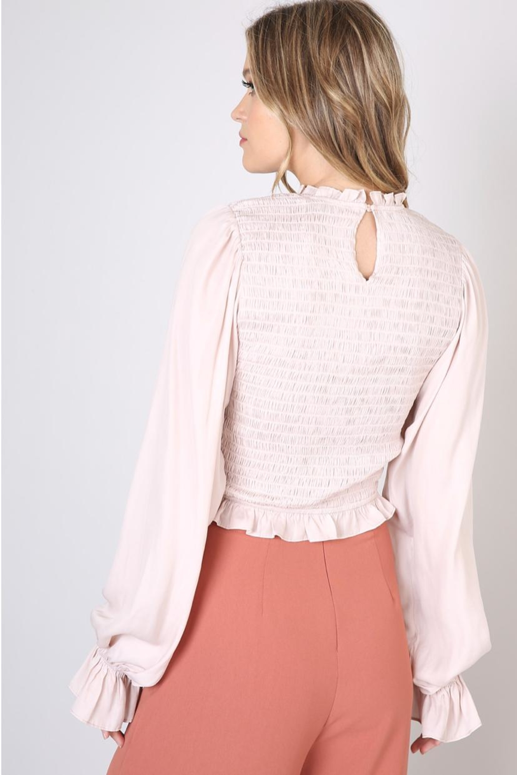 Do & Be Beige Shirring Blouse - Side Cropped Image