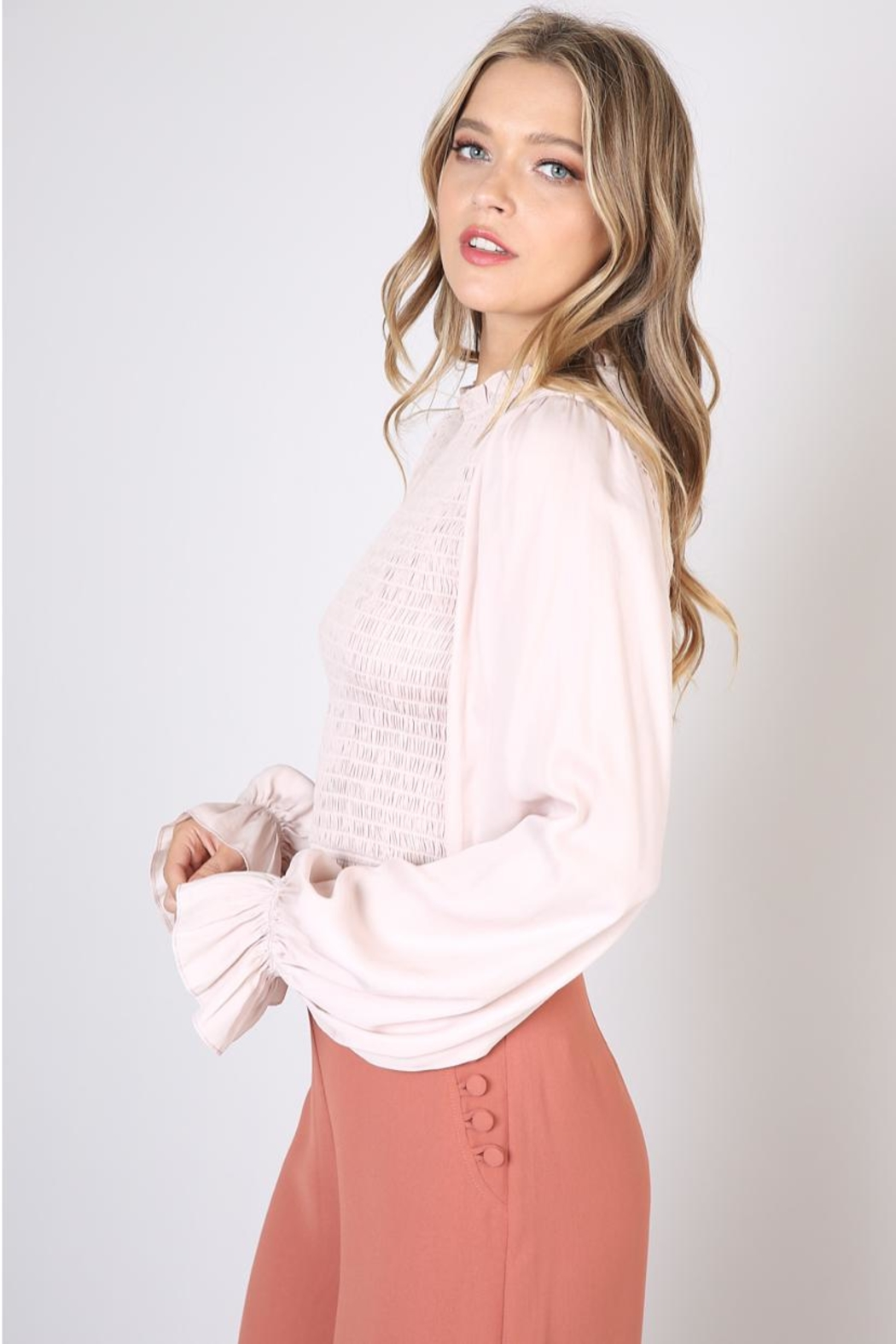 Do & Be Beige Shirring Blouse - Front Full Image