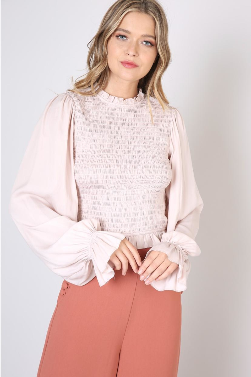 Do & Be Beige Shirring Blouse - Main Image