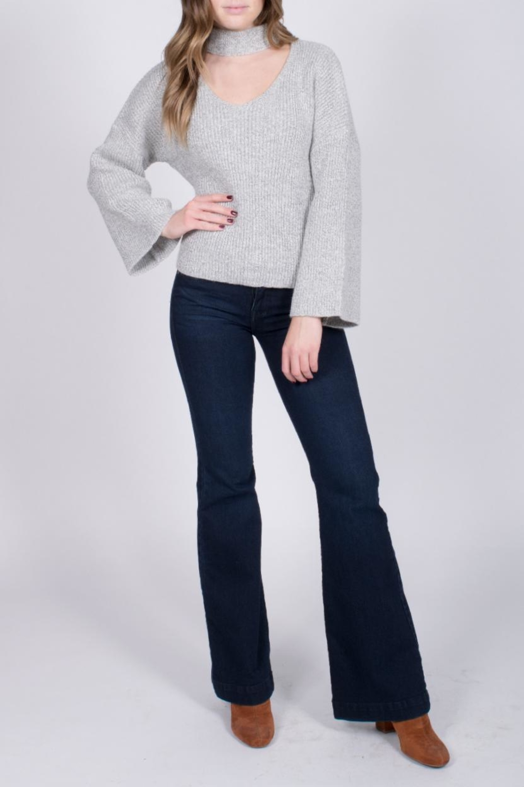 Do & Be Bell Sleeve Choker Sweater - Side Cropped Image