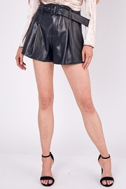Do & Be Belted Faux-Leather Shorts - Front cropped