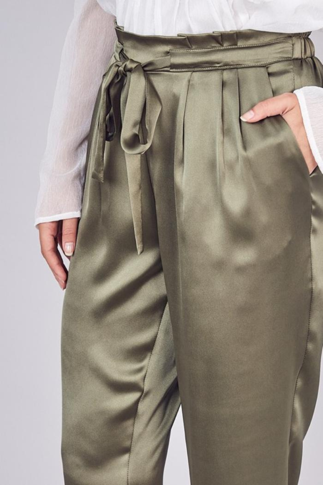Do & Be Belted Satin Pant - Front Full Image