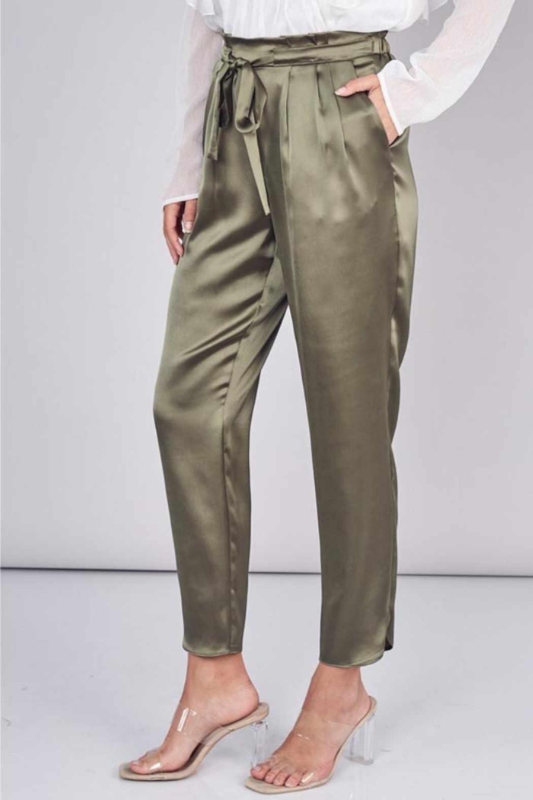 Do & Be Belted Satin Pant - Main Image
