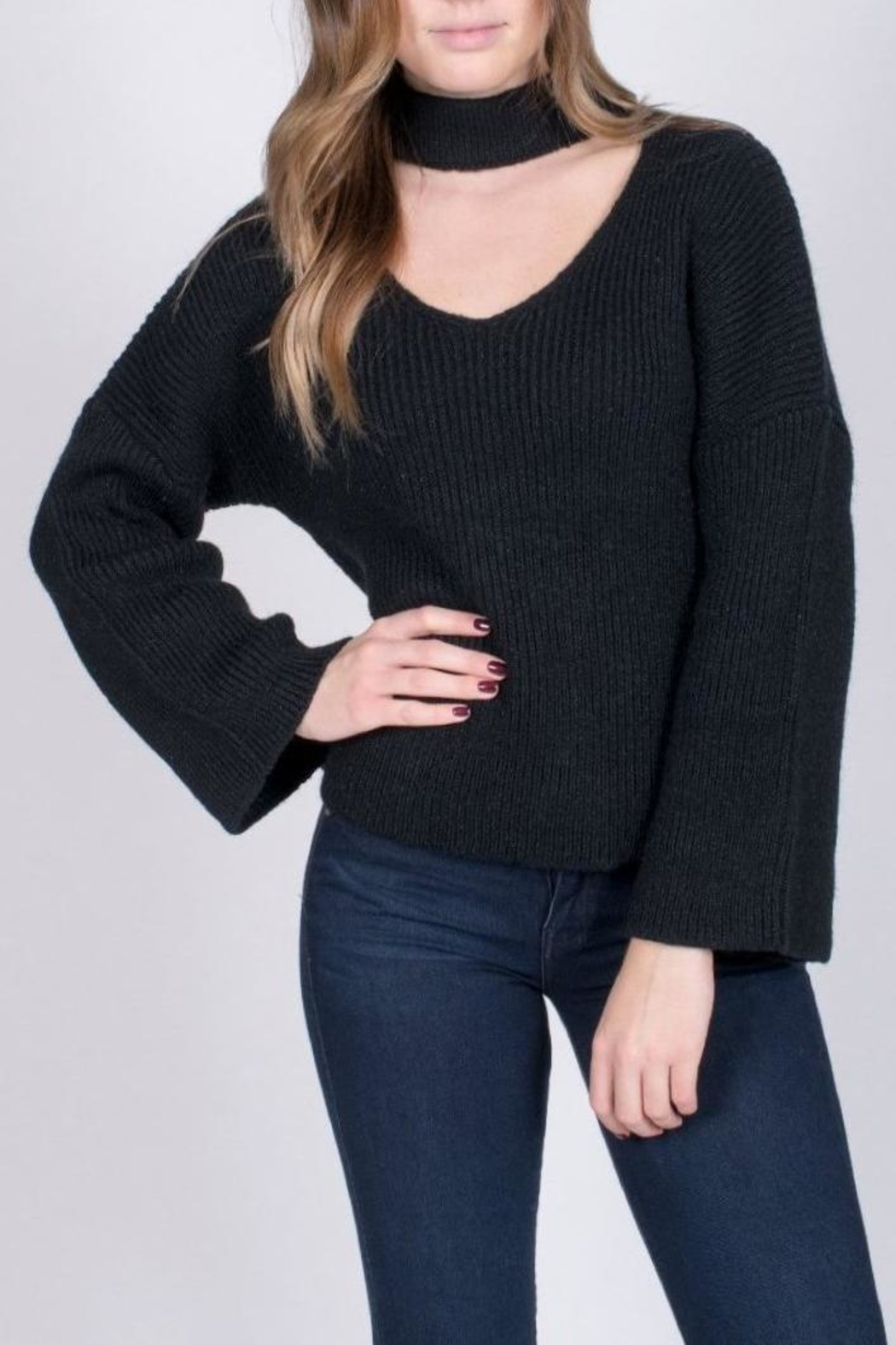Do & Be Black Choker Sweater - Front Cropped Image