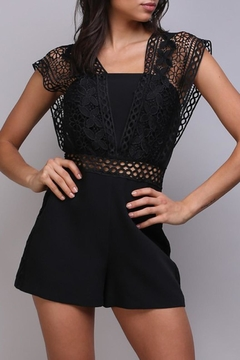 Shoptiques Product: Black Crochet Romper