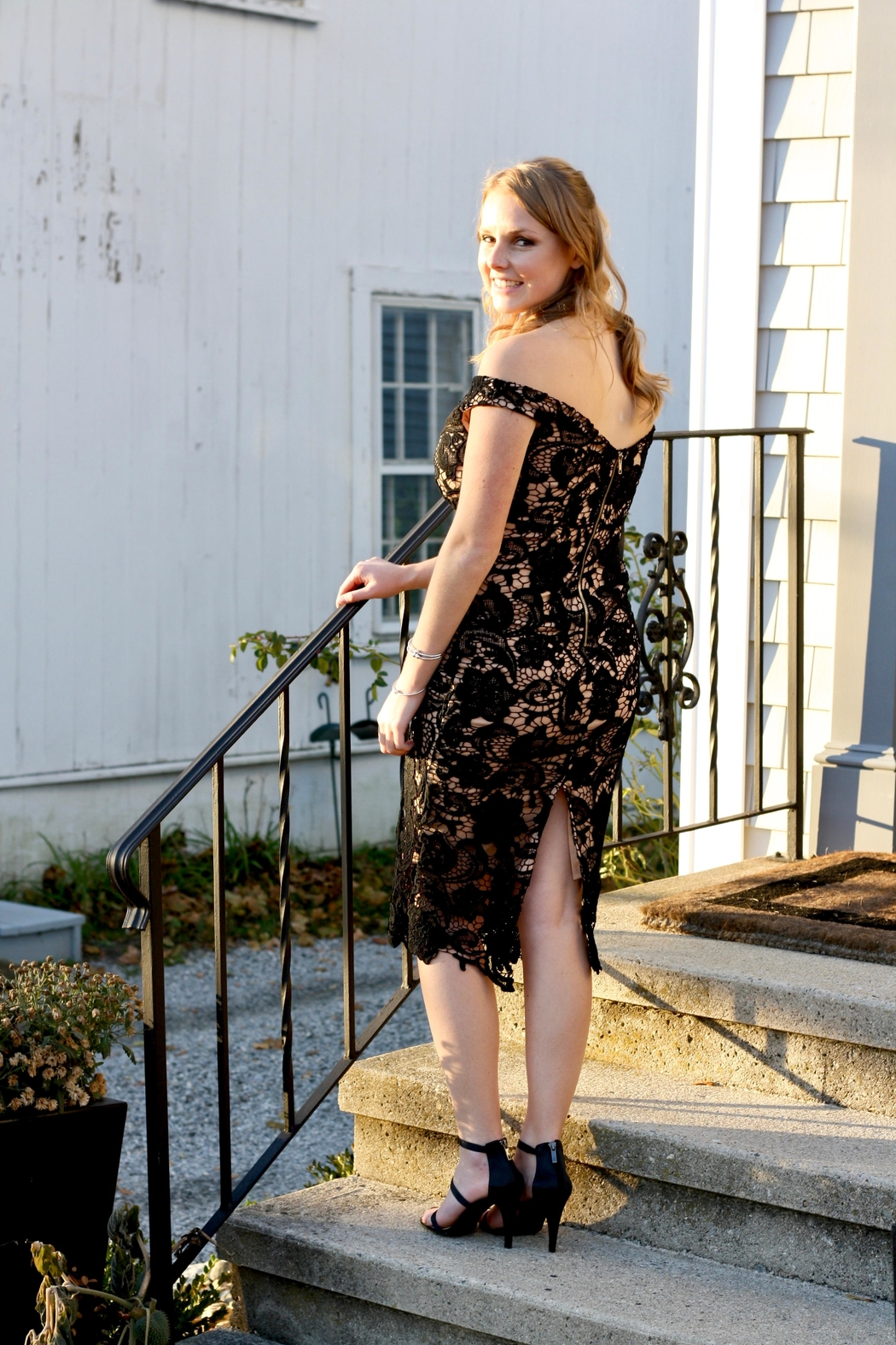 Do & Be Black Lace Dress - Front Full Image