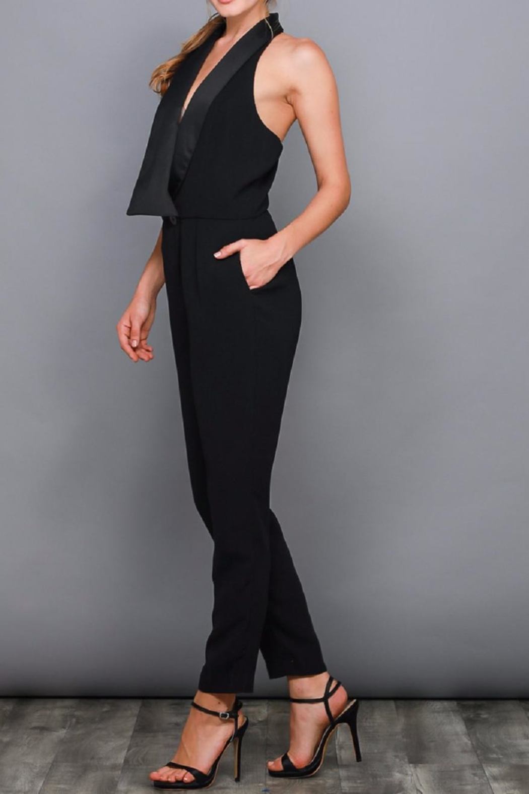 Do & Be Black Tuxedo Jumpsuit - Side Cropped Image