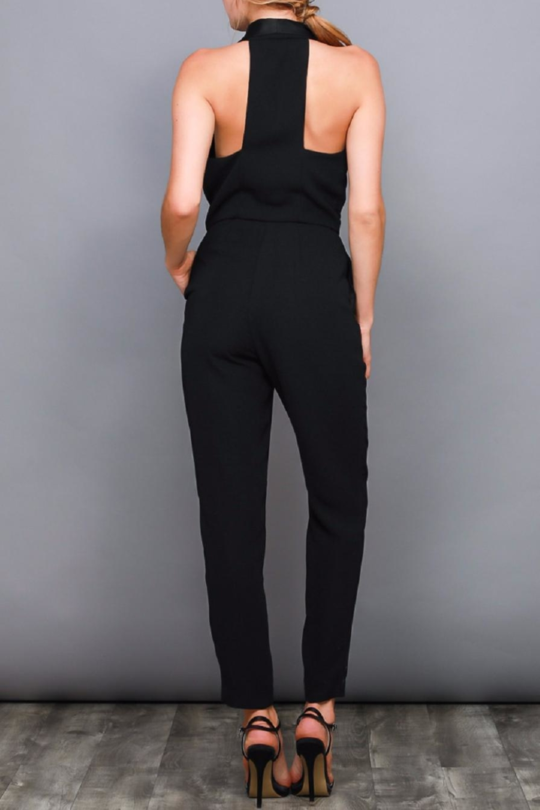 Do & Be Black Tuxedo Jumpsuit - Front Full Image