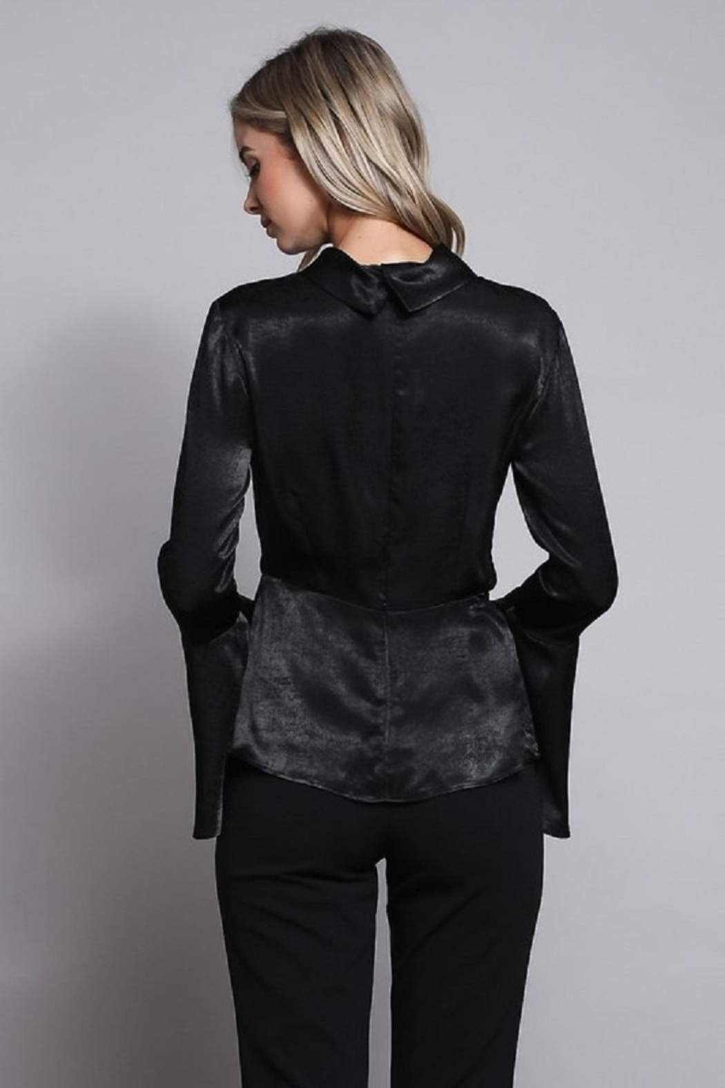 Do & Be Black Wrap Top - Back Cropped Image